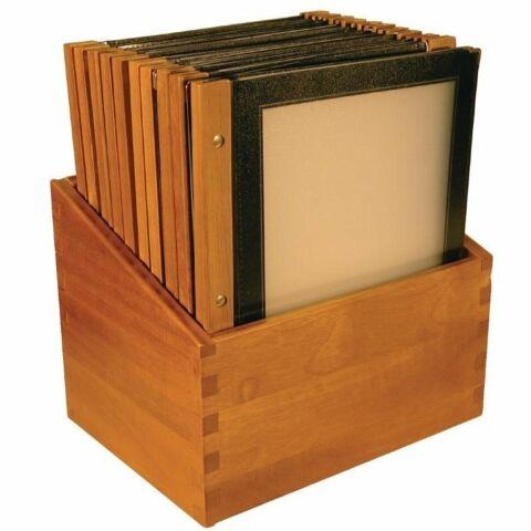 Menümappen mit Holzbox schwarz A4 (20 Stück)-Gastro-Germany