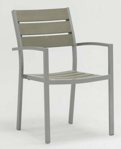 Terrassenstuhl Bari Grey ODC mit Armlehne, stapelbar