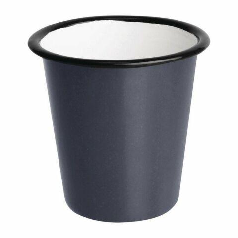 Olympia Emaille Becher grau-schwarz 31cl (6 Stück)-Gastro-Germany