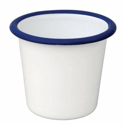 Olympia Emaille Saucenbecher weiß-blau 11,4cl (6 Stück)-Gastro-Germany