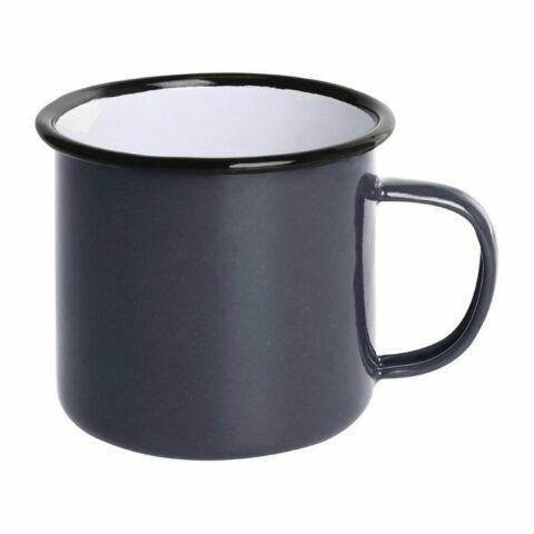 Olympia Emaille Tasse grau-schwarz 35cl (6 Stück)-Gastro-Germany