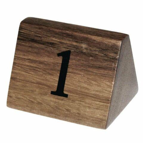 Olympia Tischnummernaufsteller 1 bis 10 aus Akazienholz , 10 Stk-Gastro-Germany