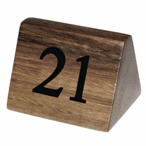 Olympia Tischnummernaufsteller 21 bis 30  aus Akazienholz (10 Stück)-Gastro-Germany