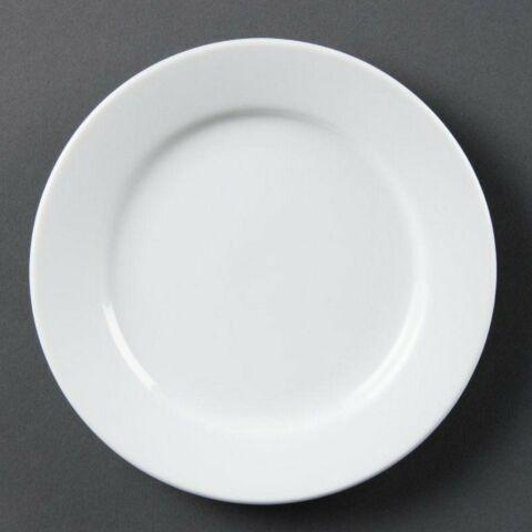 Olympia Whiteware Teller mit breitem Rand 25cm (12 Stück)-Gastro-Germany