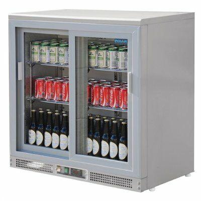 Polar Bardisplay silberfarbig 180 Flaschen, 223L, 92x53,5x92,5cm-Gastro-Germany