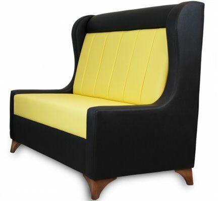 Sitzbank DIVA schwarz mit gelbem Rücken, Länge 120cm-Gastro-Germany