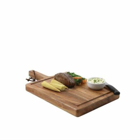 T&G Woodware Steakbrett Akazienholz mit Griff 26 x 19cm-Gastro-Germany
